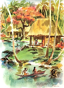 Watercolor of idyllic Vanilla Island as depicted by Cornell ethnobotanist, Colin Troscott.
